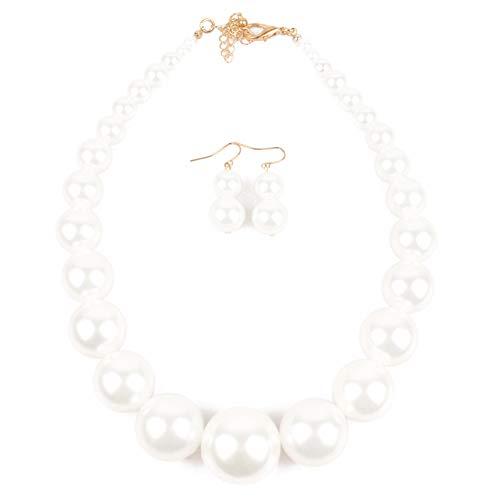 Memet der 1920er Jahre Mode simulierte Perlenstrang Choker großen Stil klobige Halsketten und Ohrringe Set