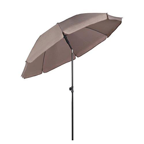 Sekey® Sonnenschirm 200 cm Marktschirm Gartenschirm Terrassenschirm Taupe Rund Sonnenschutz UV25+