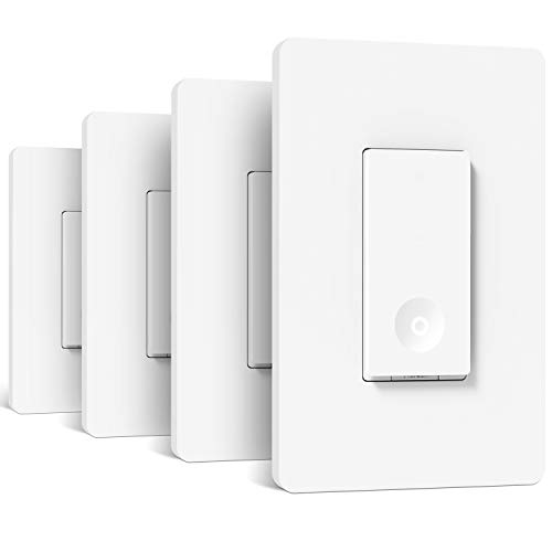 Smart Light Switch 4 Pack, Treatlife 2.4Ghz Smart Switch WiFi Light Switch Single-Pole, Neutral Wire Required, Works with Alexa and Google Assistant, Schedule, Remote Control, FCC/ETL Listed