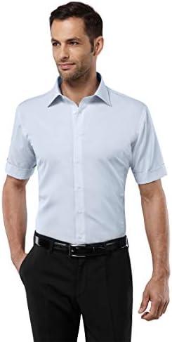 Vincenzo Boretti Camisa de Hombre, Manga-Corta, Ajustada Entallada (Slim-fit), 100% algodón, Cuello Kent, Lisa - no Necesita Plancha