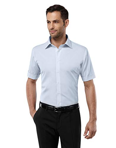 Vincenzo Boretti Herren-Hemd bügelfrei 100{44878e1b22da586e5a5b38a95106627cf002083a271fb73f6b1bafd58d2051f3} Baumwolle kurz-arm Slim-fit tailliert Uni-Farben - Männer Hemden für Anzug Krawatte Business oder Freizeit hellblau 43-44