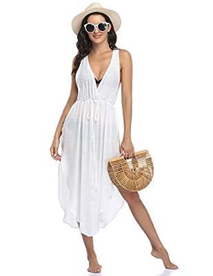 Ekouaer Beach Swimsuit for Women Kimono Coverups Solid Color Bikini Cover Up,Medium White