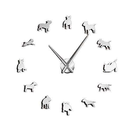 HYY-YY Bullterrier Wandkunst DIY große Wanduhr Hunderasse Mops große Nadel Uhr Pet Shop Dekoration Geschenk für Bullterrier Liebhaber Silber