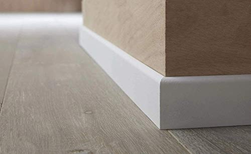 MadeInNature Plinthe en médium prépeinte Blanche de très Grande qualité – Fabrication Francaise – différentes Dimensions et Finitions (Hauteur 10cm Finition Arrondi, 50 ML)