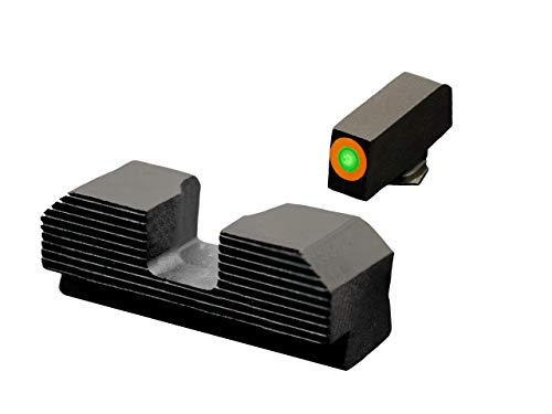 XS Sights Minimalist Tritium Night Sights, Fits Glock Gen 1 – 5 +MOS Pistols, Tritium Front Blackedout Rear Combo, Dual Illuminated Orange Front Sight Equipped with Tritium Photoluminescent Glow Dot