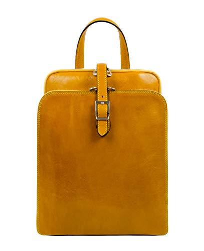 Time Resistance Lederrucksack Wandelbar zu Schultertasche bis zu 12 Zoll Laptops - Gelb Tagestasche Reisetasche Rucksack