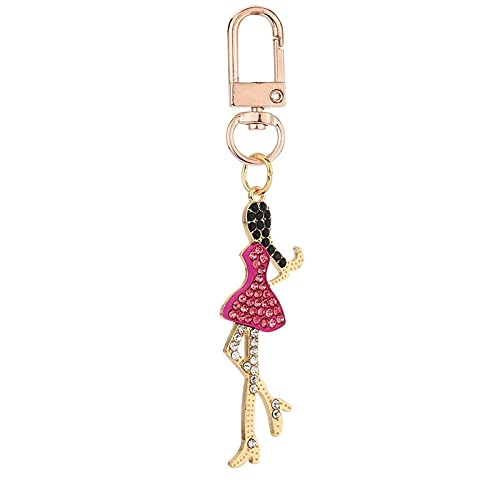 MLOPPTE Llavero,Llavero de cristal delgado para mujer, baratija encantadora figura de dibujos animados, falda de metal, bols