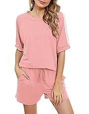 Irevial Trainingspak voor dames, 2-delig, casual, joggen, pyjama, voor binnen, sportkleding, sweatshirt, lange mouwen, broek, comfortabel