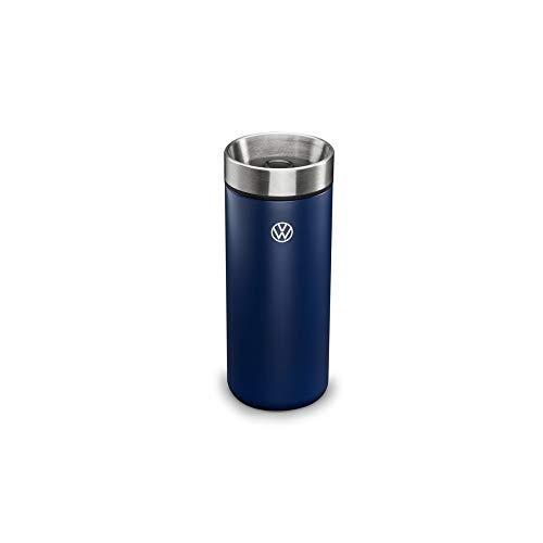 Volkswagen 5H0069604 Thermobecher Trinkflasche Edelstahl Lasergravur, blau, mit neuem VW Logo