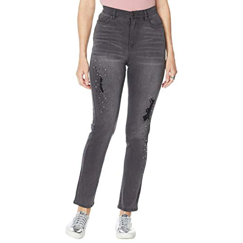 DG2 by Diane Gilman Women's Embellished Distressed Anniversary Jeans. 723681 8 Black