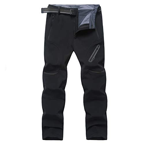 Ynport Crefreak Mens Winter Pantalones de Senderismo al Aire Libre Softshell Fleece Mountain Ski Snow Pants (con cinturón)