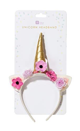 Talking Tables Unicorn-Headband accessoires | Eenhoorn hoofdband bloem | Super voor meisjes, verjaardagsfeestje, baby, JGA vrouwen party | roze en goud, veelkleurig