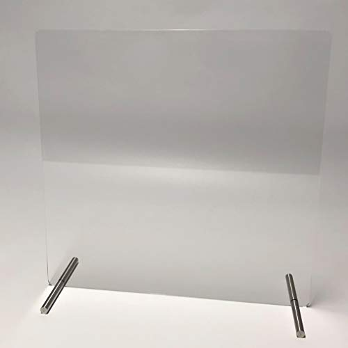 WANDKINGS Spuckschutz Thekenaufsatz, Edelstahlfüße, Virenschutz Niesschutz Hustenschutz Tischaufsatz Tresenaufsatz, ohne Durchreiche, Breite: 100 cm, Höhe: 75 cm, Glasklar
