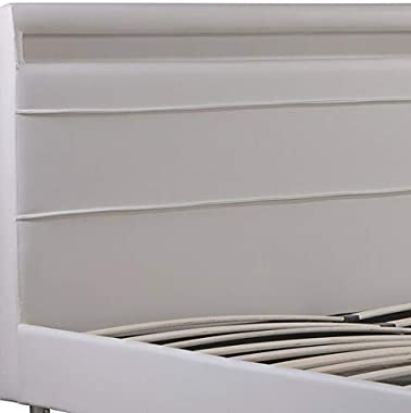 Bagno Italia Lit double 220 x 174 cm avec bande LED multicolore, simili cuir blanc ou noir, style moderne I