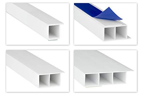 HEXIM Fenster/PVC Deckleisten 15mm - Hohlkammerprofile, wahlweise mit Schaumklebeband (selbstklebend) und Überstand für Wandabschluss (Fahne) - 2 Meter je Leiste (60x15mm, HJ 264-SKS)