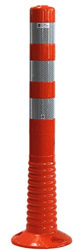 UvV UVTP4231 Flexi Poller Absperrpfosten 750 mm - reflektierend mit Orafol 5931 Silber (DIN Reflexfolie- EN 12899-1:2008, RA2/C) - als flexibler Sperrpfosten mit stabilem Standfuß