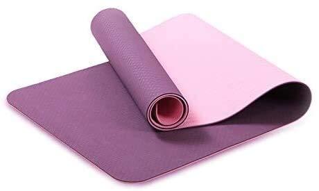 QZ 147258 Yoga Mat 183 x 61 TPE Eco Friendly Esercizio Fitness Ma Compatto e Leggero su Due Lati Antiscivolo Storage Case Strap con, Dimensioni: 183 × 61 × 0,6 Centimetri, Colore: Viola