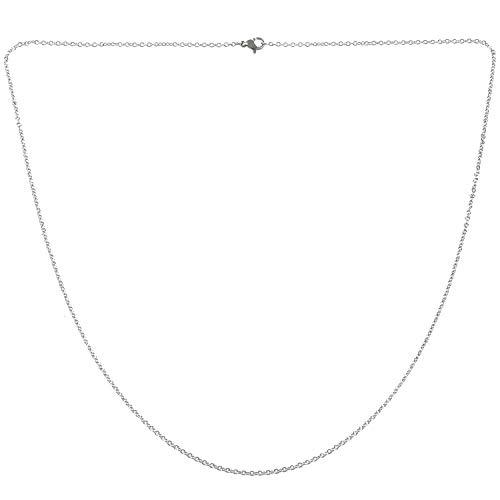 Kresell Cadena de Mujer de joyeria, O Collar de Acero Inoxidable, Plata - 2 mm de Ancho - 65 cm de Longitud