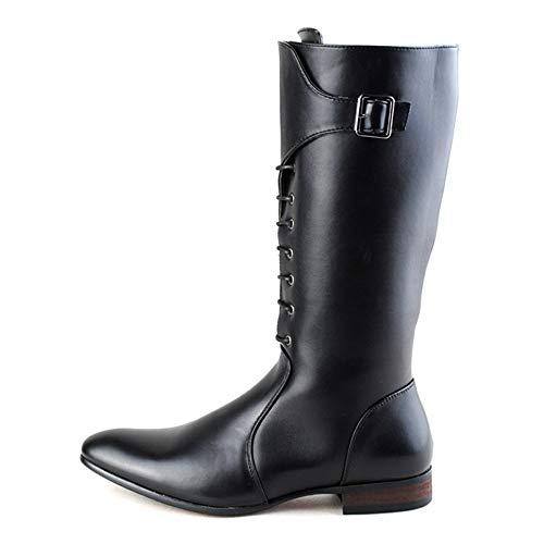 XueQing Pan Men's European Fashion knie hoge laarzen PU leer rits aan de zijkant veters Combat Schoenen (Color : Black, Size : 41 EU)