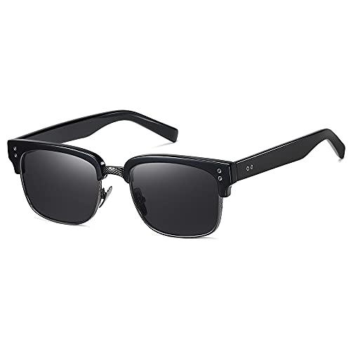 SHEEN KELLY Gafas de sol polarizadas semi sin montura para hombres y mujeres Gafas de sol de medio marco de estilo retro clásico de diseñador