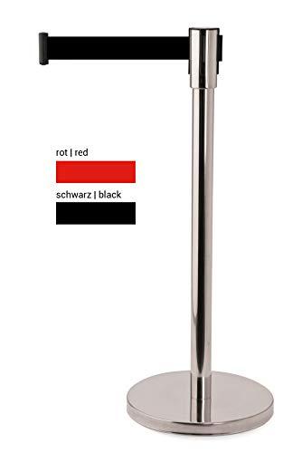 heyChef - Abgrenzungspfosten Edelstahl, Gurtband schwarz, VIP Bänder, Abgrenzungs-Ständer oder Personen-Leitsystem, Gurt Abstandshalter