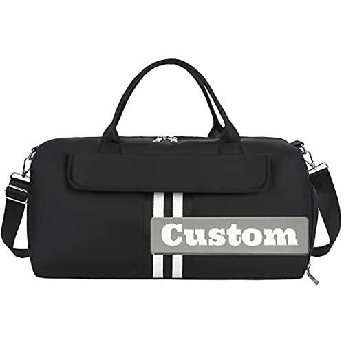 Nombre Personalizado Ligero para Hombres Bolso de Lona de Nylon con Cremallera Extra Grande Camping Duffel Impermeable (Color : Black, Size : One Size)