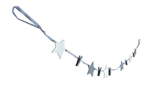 * Weihnachtliche Grußkarten-Girlande mit fünf Klammern | Grußkartenhalter Stern-Leine zum Aufhängen von Weihnachtskarten Geschenksocken | In Rot oder Grau | ca. 120 cm (Grau-Weiß)