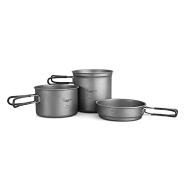 ProHealth HealthPro Titanium Lightweight 3-Piece (1.2L, 800ml, 400ml) Pot and Pan Camping Hiking Mess Kit Cookware Set