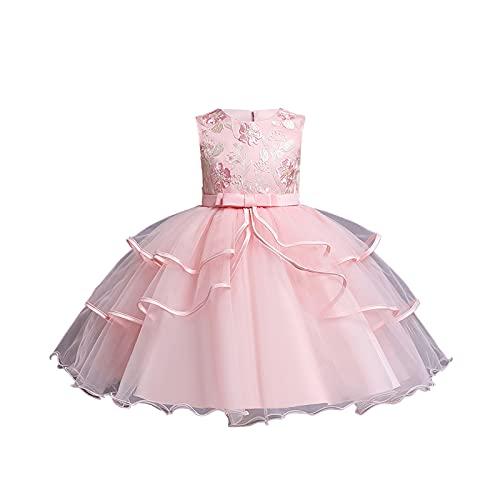 Vestido de renda floral vintage bordado sem mangas com laço para meninas, vestido de festa de casamento, vestido de dança formal, Rosa claro A, 7-8 anos
