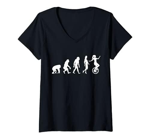 Damen Einrad Fahren Evolution Einradfahrerin T-Shirt mit V-Ausschnitt