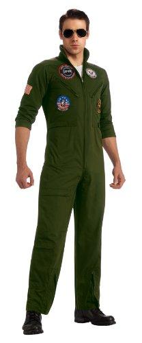 Top Gun Secret Wishes Flight Suit, Green Khaki, Standard Costume