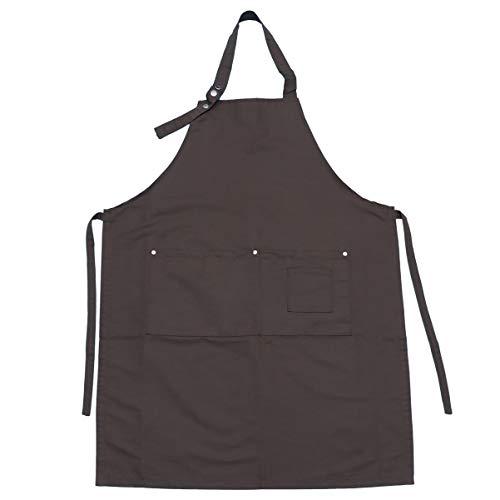 Beaupretty Werkkleding Kapper Canvas Werkschort Verstelbaar Slabbetje Waterdruppelbestendig Met 2 Zakken Keuken Keukenschorten (Koffie)