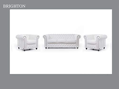 Chesterfield Canapé et fauteuil en cuir Blanc 1 / 1 / 3 places