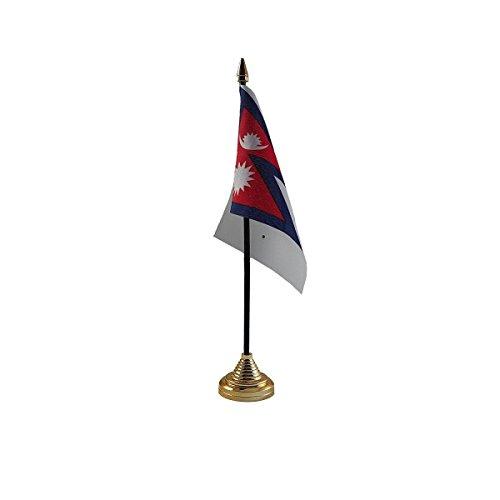 Pack van 6 Nepal Nepalese Desktop Tafel Middenstuk Vlag Vlaggen Met Gouden Bases Ideaal Voor Party Conferences Kantoorscherm