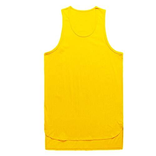 Yowablo Tank Top Herren Ärmellos T-Shirt Tankshirt Casual Tanktop Muskelshirt Oberteile Sport Gym Fitness Tops Lässig Unterhemd Slim Fit Weste Bluse Hemd (L,Gelb)
