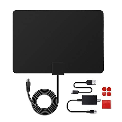 MECO TV Aerial Indoor TV Antenna Ultra-Thin Amplified 50 Miles Range Digital HDTV Antenna with Amplifier Signal Booster and 16.5ft Cable, Digital Freeview, Analog TV Signals