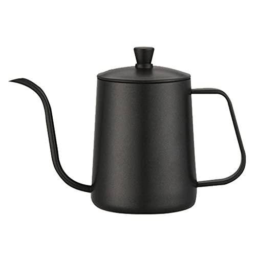 600ml Coffee Tea Pot 304 Acero inoxidable de acero inoxidable Largo Cuello de cuello de cuello de cuello de copa Caldera Hervidor de goteo de la mano vierta sobre la olla de café con la tapa