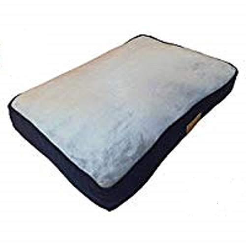 Ellie-Bo Hundebett für Käfig oder Transportbox, 76,2cm, Medium, 71cm x 48cm, Seiten aus Cord Blau, Oberseite aus Kunstfell Grau