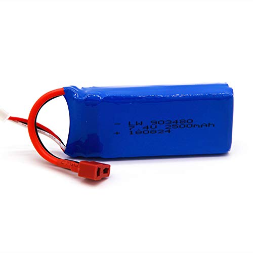 RFGTYH 7,4 V 2500 mAh Lipobatterie für Syma X8C X8W X8G Quadrocopter 7,4 V 2500 mAh Li-Po-Batterie mit hoher Kapazität 2S Spielzeugbatterie BananaPlug