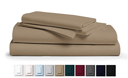"""Kemberly Home Collection 800 Thread Count 100% Pure Egyptian Cotton – Sateen Weave Premium Bed Sheets, 4- Piece Taupe King- Size Luxury Sheet Set, Fits mattresses Upto 18"""" deep Pocket"""