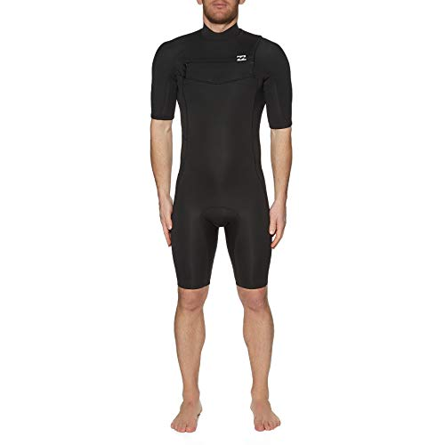 Billabong Heren Absolute 2mm Flatlock Chest Zip Shorty Wetsuit - Zwart - Korte mouwen Heren Springsuit 2 / 2mm