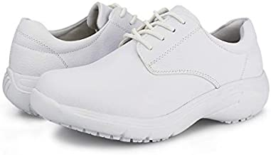 Hawkwell Women's Lace Up Nursing Shoes Comfortable Work Shoes,White PU,10 M US