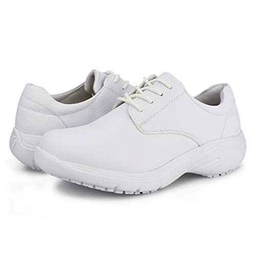 Hawkwell Women s Lace Up Nursing Shoes Comfortable Work Shoes White PU 9 M US