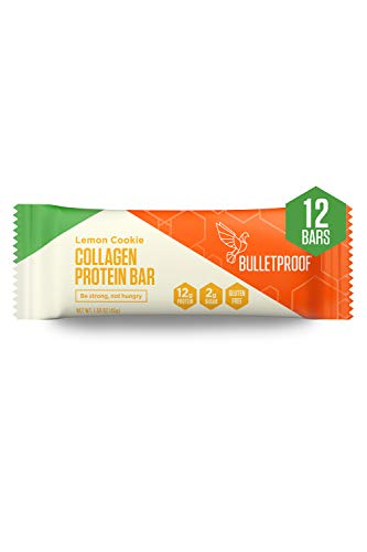 Collagen Protein Bars, Lemon Cookie, 12g Protein, 12 Pack, Bulletproof Grass Fed Healthy Snacks, Made with MCT Oil