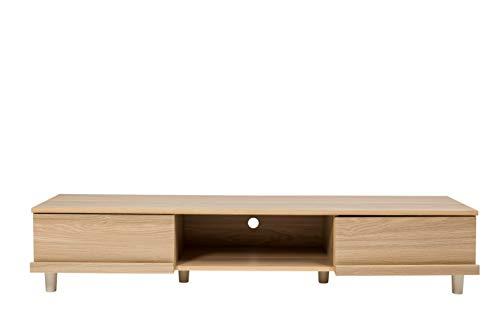 Amazon Marque - Movian Meuble TV pour écran 52 pouces - TV Board BAB-150A - Chêne clair, L150 x P42.2 x H30cm