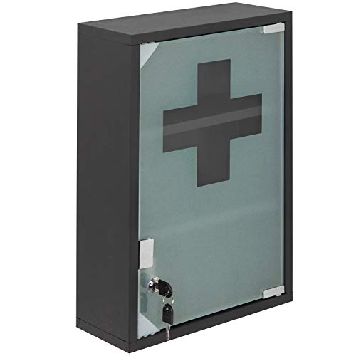 MyGift 18Inch WallMounted Metal First Aid Cabinet with Locking Glass Door amp Keys