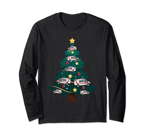 クリスマス ホリデー EMT 救急医療機関 EMS ファーストレスポンダー 長袖Tシャツ
