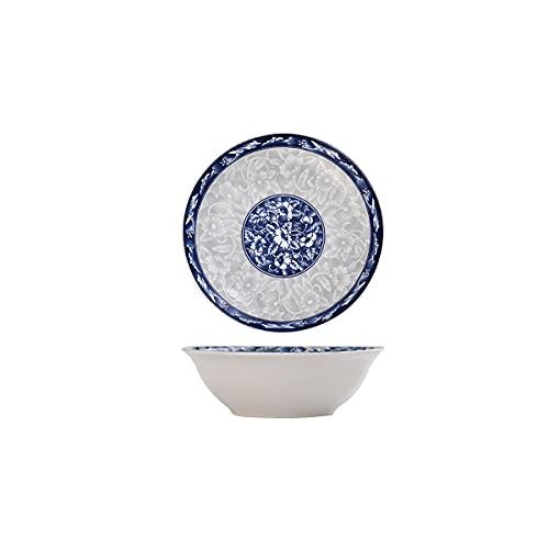 MHUI Cuencos de cerámica para Cereales, Cuencos para Sopa/ensaladas, Cuencos japoneses, Juego de 2 diseños Surtidos, Azul y Blanco,6in