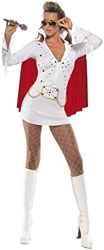 Smiffy's - Costume da Elvis Viva Las Vegas incl. Vestito e Mantello, Donna, Colore: Bianco