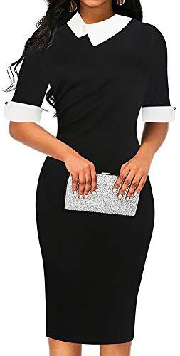LunaJany Women's Half Sleeve Empire Waist Wear to Work Office Pencil Dress Large Black